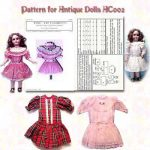 Antique Doll Dress,Dropped Waist Style, With  Slip & Panties