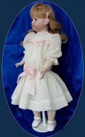 Antique Style Doll Dress for Antique Doll Pink Ribbon