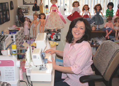 Deanna at her own sewing machine