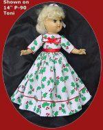 Toni Doll Christmas Dress, Deck the Halls