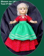 Toni Doll Dress, Christmas Dinner 14″ P-90