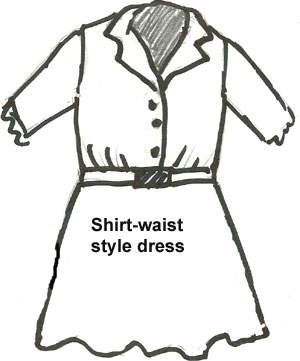 Antique Doll Dresss shirtwaist style