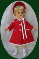 Toni Doll Christmas Coat and Hat Short Length