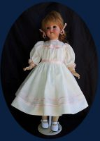 Antique Doll Dress, Batiste with  Silk Ribbon