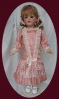 Antique Doll Dress in Rose/Pink  Dupioni Silk