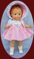 Effanbee Patsy 14″ Doll Pink Peony 2 pc Dress , Hat