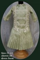 Antique Doll Dress Patterned Green Silk FREE SHIPPING