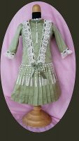 Antique Doll Dress Vintage Sage Silk FREE SHIPPING