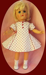 Ideal Toni doll shown wearing one of my dresses