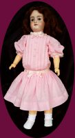 Antique Style Doll Dress in Pink Swiss Dot 2 Pc.