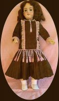 Antique Doll Dress in Brown Dupioni Silk FREE SHIPPING