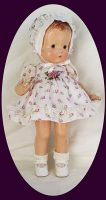 Patsy Doll Dress and Bonnet Purple Rosebuds,1930s Dotted Swiss