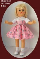 Ideal Toni Doll Dress Pink Check for 14″ P-90 and 15-16″ P-91