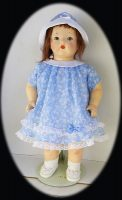 Mama Doll Dress & Hat in 1930s Cotton Lawn