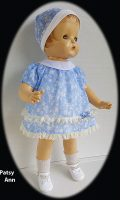 Patsy Ann Doll Dress and Hat, 1930s Blue Floral Cotton Lawn