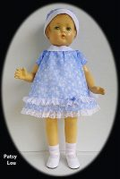 Patsy Lou Doll Dress With Hat, 1930s Blue Floral Lawn