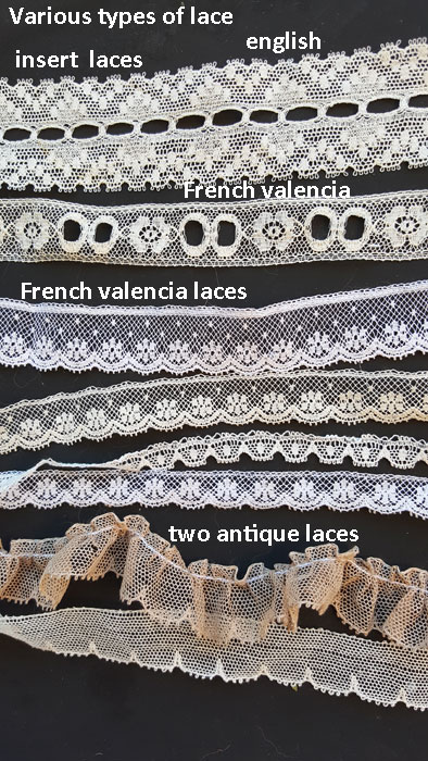 This Is Just A Small Sample Of The Laces Available For Use On Heirloom Quality Doll Dresses All These Are Course Cotton