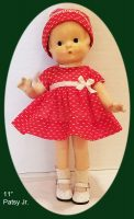 Patsy Doll Family Dress and Hat 1930s Dotted Swiss