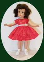 Sweet Sue  Doll Dress, Red Dotted Swiss