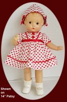 Patsy Doll Dress, Red and White Print, Dress and Hat set