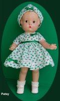 Patsy Doll Family Dress, Shamrock. Dress and Hat