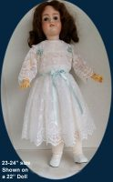 Antique Doll Dress and Slip Embroidered Organdy