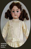 Antique Doll Dress in Creamy Almond Dupioni Silk