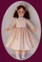 Antique Doll Dress, Pale Ecru Silk